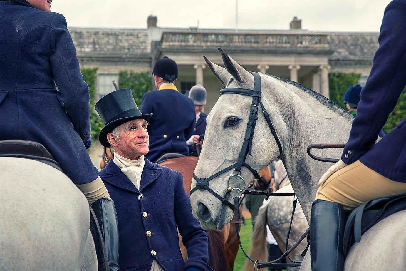 Rider wearing top hat at Goodwood House, Charlton Hunt