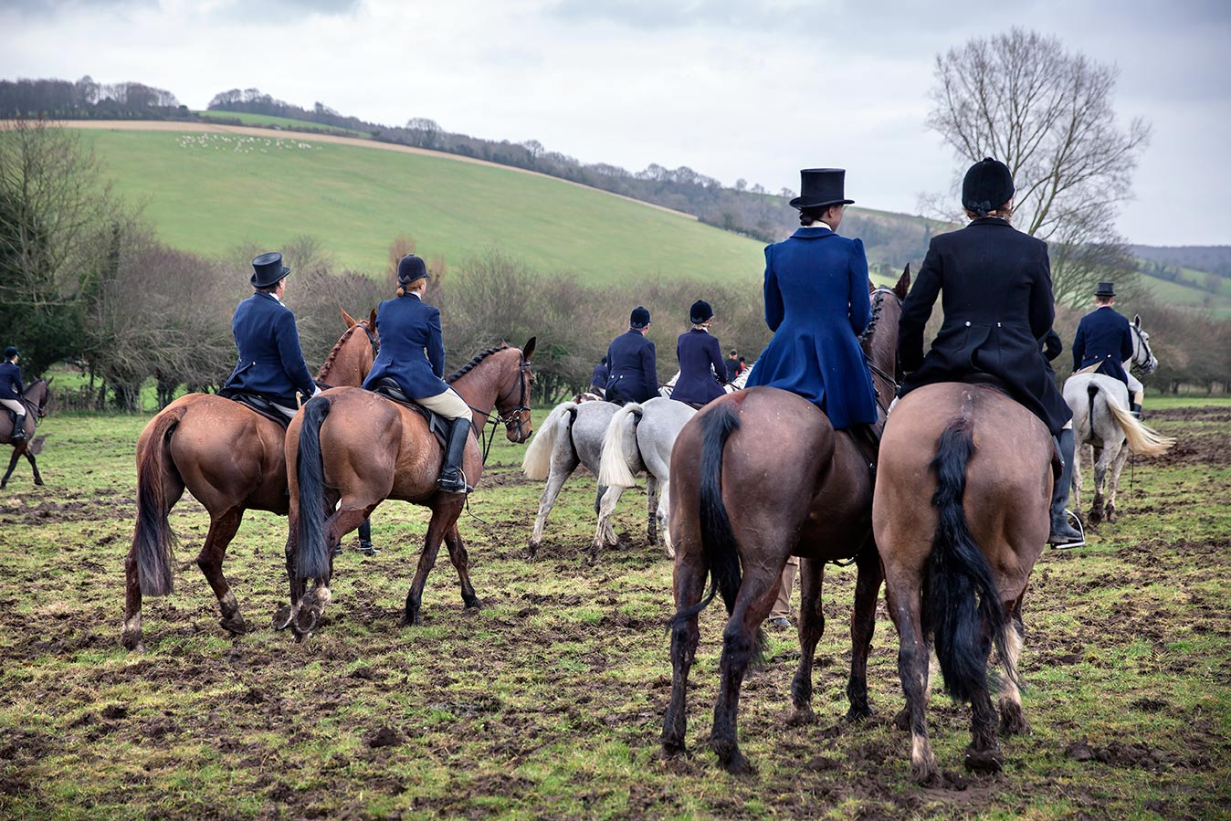 Members of the Charlton Hunt mounted leaving Fox Hall