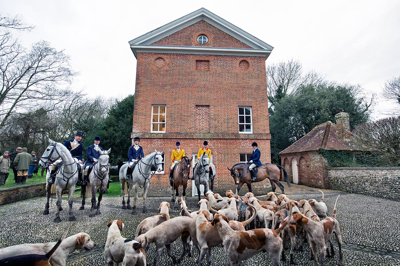 Huntsman and hounds at Fox Hall