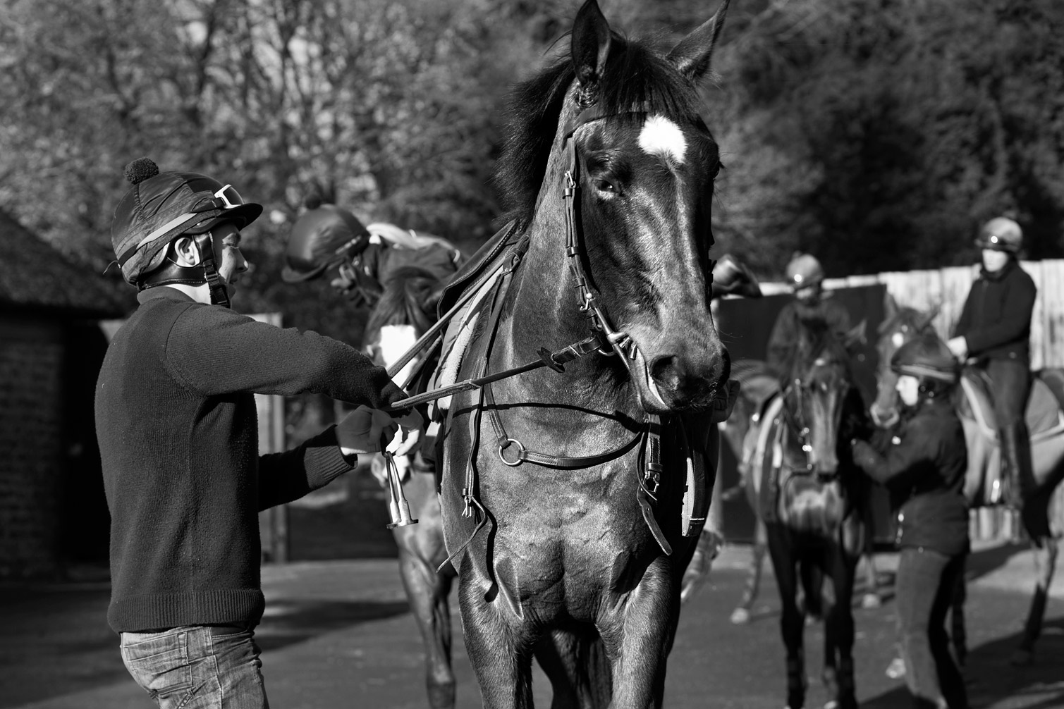 Returning-from-ride-with-yearlings-B-W